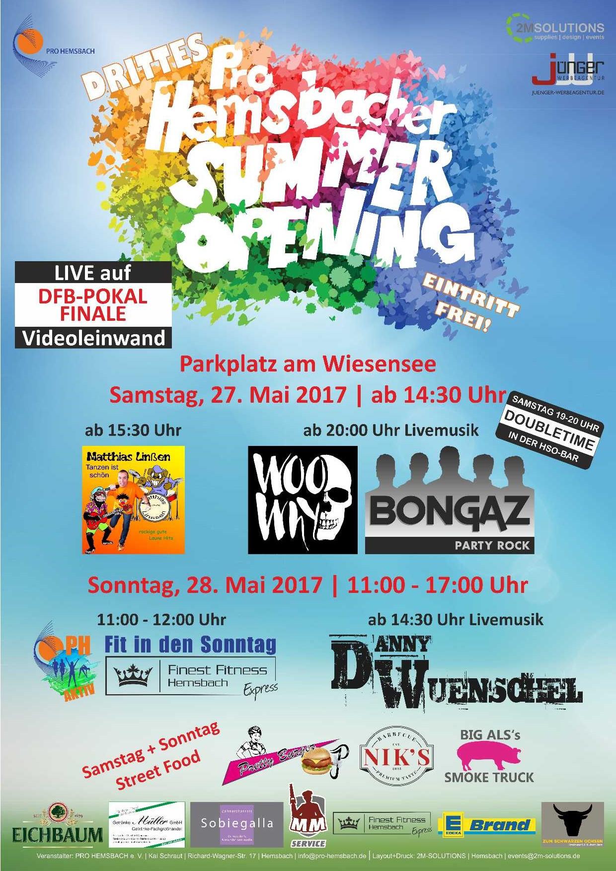 3. Hemsbacher Summer Opening - Plakat