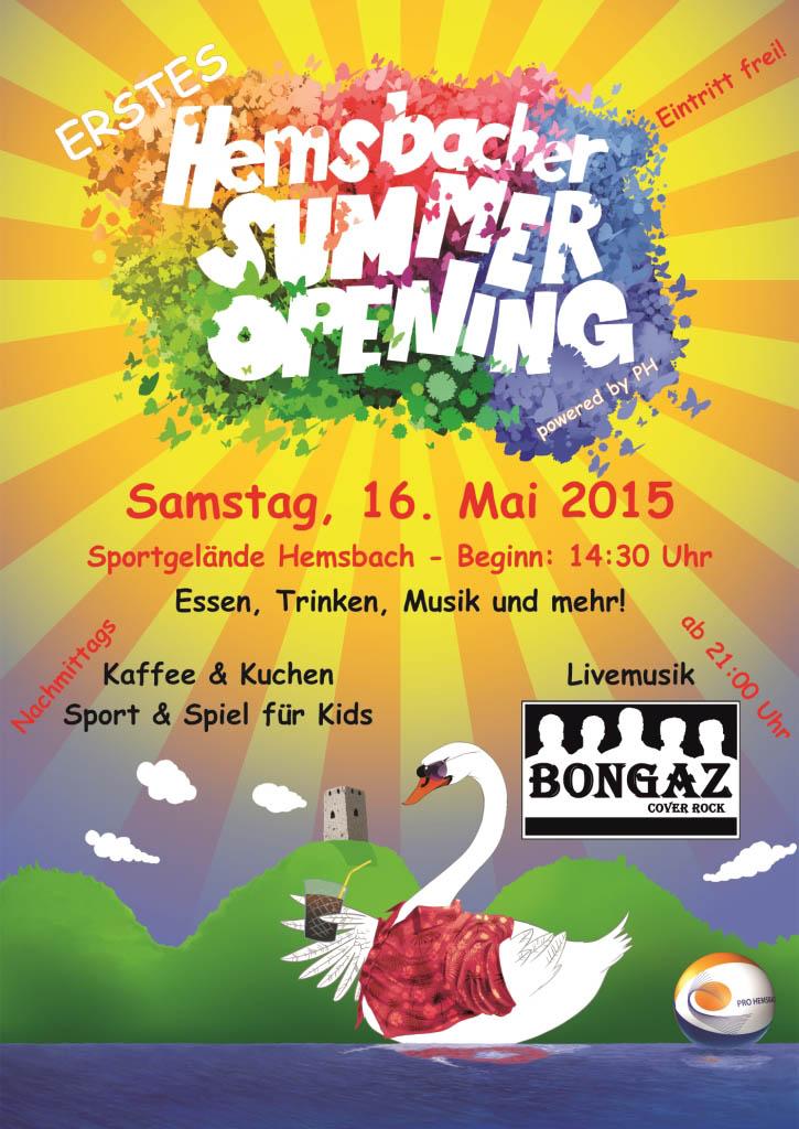 1. Hemsbacher Summer Opening - Plakat