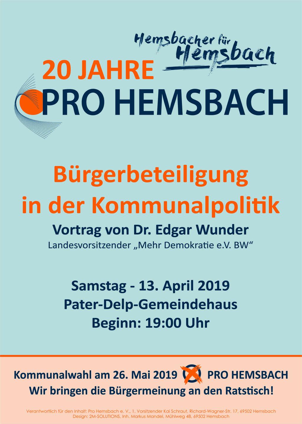 20 Jahre Pro Hemsbach - Plakat